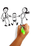 Happy family. Girls hand holding a pen drawing happy family greeting card Royalty Free Stock Photos