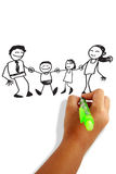 Happy family. Girls hand holding a pen drawing happy family greeting card Royalty Free Stock Photography