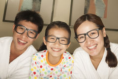Happy Family with Glasses Royalty Free Stock Photography