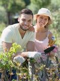 Happy family in gloves in garden Stock Photos