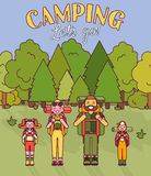 Happy family go camping. Vector illustration in flat style design. Cartoon people characters in forest. Parents and kids. With backpacks on holiday Royalty Free Stock Photo