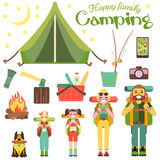 Happy family go camping. Vector illustration in flat style design. Cartoon people characters and tourist objects. Tent. Fire, fishing rod, food, axe. Parents Stock Photography