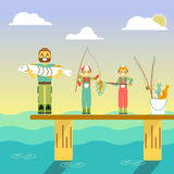 Happy family go fishing. Vector illustration in flat style design. Cartoon people characters fishing in sea. Parents and. Kids on a pier with fishing rods on Stock Photo