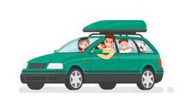 Happy family goes by car on vacation. Father, mother, son, daughter and dog go on a trip. Vector illustration Royalty Free Stock Images