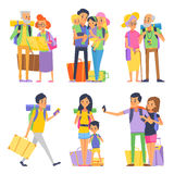 Happy family goes to vacation. Mother father and children. Grandmother and grandfather. Vector illustration Royalty Free Stock Photos