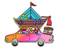 A happy family going on holiday Royalty Free Stock Photo