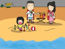Happy family going to the beach for Holiday Royalty Free Stock Photos