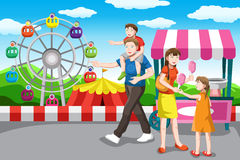 Happy family going on a vacation. A vector illustration of a happy family recreation in the amusement park Royalty Free Stock Photos
