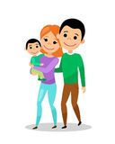 Happy family going for a walk. Mom, dad and baby. Woman with son in her arms. Vector illustration vector illustration