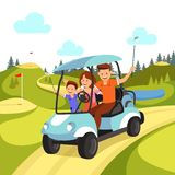 Happy Family with Golf Clubs Riding Blue Golf Cart stock illustration