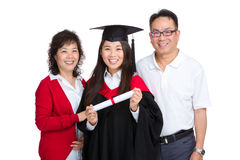 Happy family with graduate daughter Stock Photo