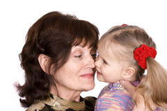 Happy family grandmother and granddaughter. Royalty Free Stock Photo