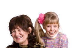 Happy family grandmother and granddaughter. Royalty Free Stock Photos