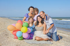 Happy family. Grandmother, grandfather, Mother, youngest daughte Royalty Free Stock Image