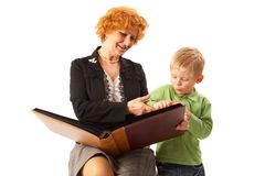 Happy family: Grandmother and grandson Royalty Free Stock Images
