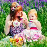 Happy Family in Green Grass take a Teaparty. Stock Photo