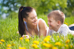 Happy family in a green park. picnik Stock Image