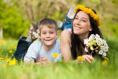 Happy family in a green park. summer Royalty Free Stock Image