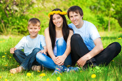Happy family in a green park. summer Stock Photo