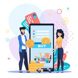 Happy Family Grocery Shopping Online by Mobile App. Grocery Shopping Online on Mobile Application. Happy Family Orders and Pays for Products from Internet Store vector illustration