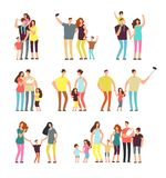 Happy family groups. Adult parents couple playing with kids vector cartoon people isolated. Father and mother character, parents with daughter and son stock illustration