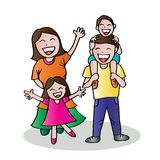 Happy family hand drawing illustration. Isolated on white background royalty free illustration