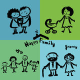 Happy family, hand drawing. Royalty Free Stock Images