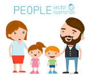 Happy family , Happy family gesturing with cheerful smile. Parents with kids. Vector colorful illustration in flat design  on white background, Vector Stock Images