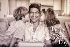 Happy family with Happy fathers day. Happy fathers day against photograph of family royalty free stock images