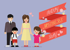 Happy family with happy mothers day banner Royalty Free Stock Photos