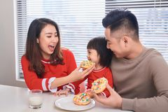 Happy family has breakfast in the morning.  royalty free stock image