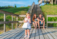 The happy family has a rest outdoors. Royalty Free Stock Photography