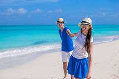 Happy family have fun on Caribbean beach vacation Stock Image