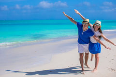 Happy family have fun on Caribbean beach vacation Royalty Free Stock Images