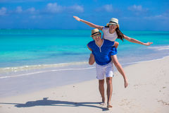 Happy family have fun on Caribbean beach vacation Stock Photography