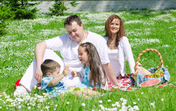 Happy family have picnic Royalty Free Stock Images