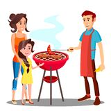 Happy Family Having Barbecue In The Outdoor Vector. Isolated Illustration vector illustration