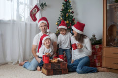 Happy family having breakfast on Christmas Royalty Free Stock Photos