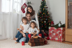 Happy family having breakfast on Christmas Royalty Free Stock Photos