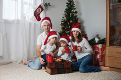 Happy family having breakfast on Christmas Royalty Free Stock Photography