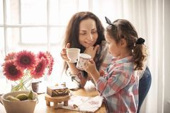 A happy family is having breakfast at home by the window at the table. Flowers and coffee. Mom and daughter. copy space royalty free stock image