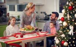Happy family having Christmas dinner Royalty Free Stock Photo