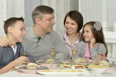 Happy family having  dinner Royalty Free Stock Image