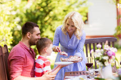 Happy family having dinner or summer garden party Royalty Free Stock Image