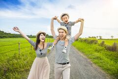 Free Happy Family Having Fun And Walking On The Country Road Royalty Free Stock Photo - 187456725