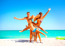 Free Happy Family Having Fun At The Beach Stock Images - 93787544