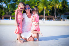 Happy family having fun during beach vacation Stock Photos