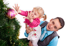 Happy family having fun with Christmas presents Stock Photography