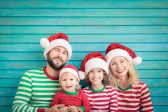 Happy family having fun at Christmas time stock photography
