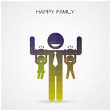Happy family having fun,daughter and son hang on daddy 's arms,f Royalty Free Stock Photos
